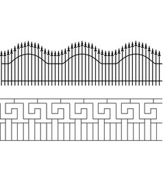 Silhouette of decorative fence territory fencing vector
