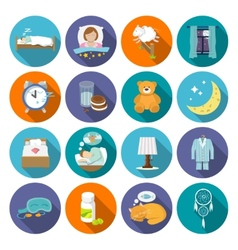 Sleep time icons flat vector image vector image