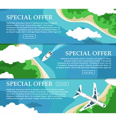 Three horizontal banner with the sea and the vector image vector image