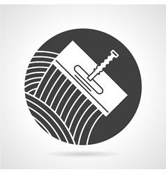 Tile trowel black round icon vector image