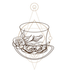 top hat with rose and goggles outline isolated on vector image
