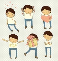 Valentine set boy in love vector image