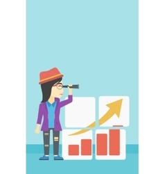 Woman searching opportunities for business growth vector