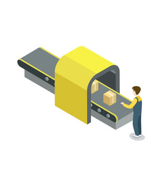 worker near belt production line isometric icon vector image