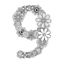 Hand drawn floral number 9 vector