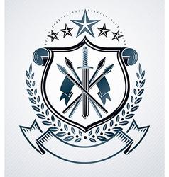Vintage emblem heraldic design vector image