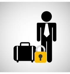 Man silhouette suitcase protection icon vector