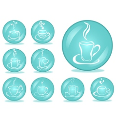 set of coffee buttons vector image