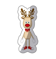 Color christmas reindeer icon vector