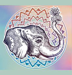 Decorative profile elephant profile with flowers vector