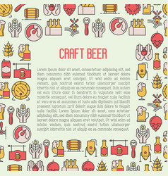 Beer concept with thin line icons for brewery vector