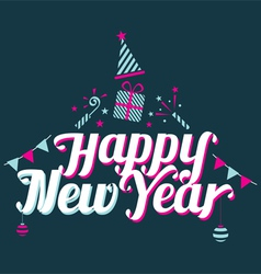 Happy new year text with party icons vector
