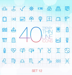 40 trendy thin icons for web and mobile set 12 vector