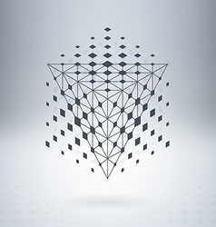 Pyramid with connected lines and dots abstract vector
