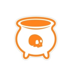 Sticker witches cauldron with a skull on white vector