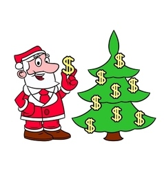 Santa decorating tree with dollars vector