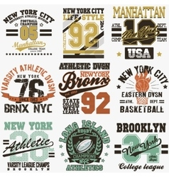 New york t-shirt set vector