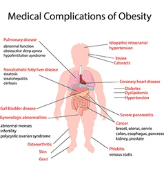 Cartoon of medical complication of obesity vector
