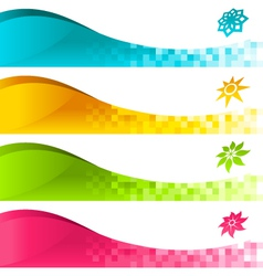 Colorful banner with icons vector