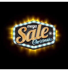 Retro sale christmas light banner with vector