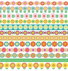 mod flower border patterns vector image