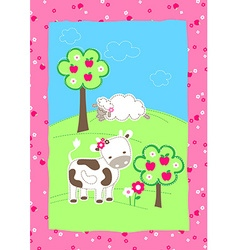 Cute farm animals on a hill embroidery vector
