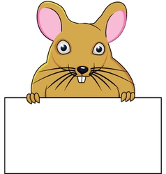 Rat cartoon with blank sign vector