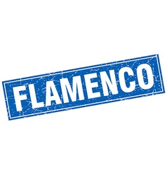 Flamenco blue square grunge stamp on white vector