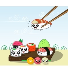 Fun cartoon japanese cuisine food vector