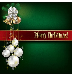 Abstract green grunge background with Christmas vector image vector image
