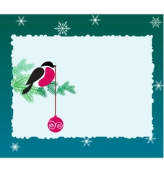 bullfinch bird on winter background vector image vector image