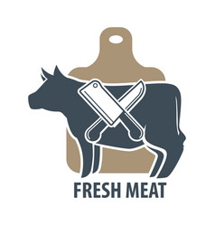 butcher template logotype sign with cow and two vector image vector image