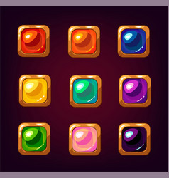 cartoon colorful square gemstones vector image vector image