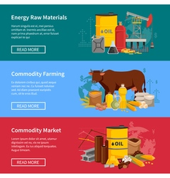 Commodity flat horizontal banners vector