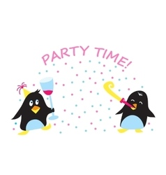 Cute holiday party penguins vector