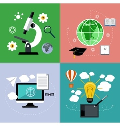 E learning and online education icons set vector