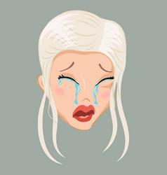 emoticon blonde cry vector image