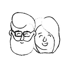 figure avatar couple head with hairstyle design vector image vector image
