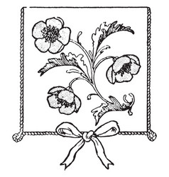 Flowers on a stem in this picture vintage vector