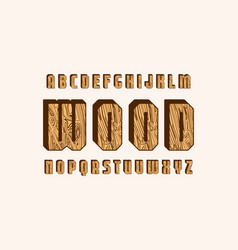 Geometric sans serif bulk font with wooden texture vector