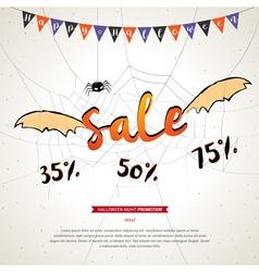 Halloween sale banner grunge background vector image vector image