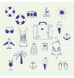 Hand drawn collection on a theme travel vector image vector image