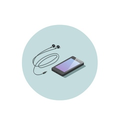 Isometric black smartphone with headphones vector