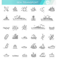 Line set of ships and boats vector