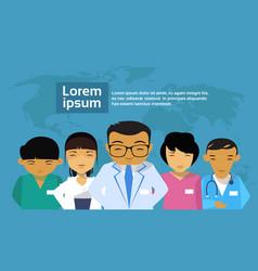 medical doctors group asian team hospital world vector image