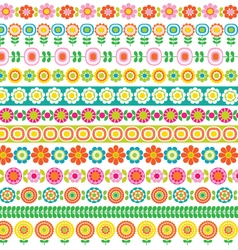 Mod flower border patterns vector