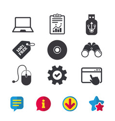 Notebook pc and usb flash drive stick icons vector