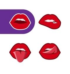 Pop art woman lips icon set vector