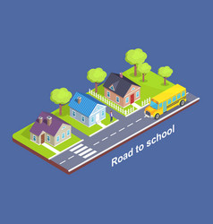 Road to school through cottage town with crosswalk vector