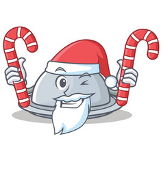 Santa with candy tray character cartoon style vector